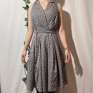 Evan Picone Empire Waist Polka Dot Belt Dress